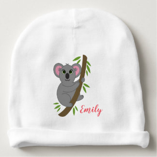Personalized Name Girl Hanging Koala Bear Animal Baby Beanie