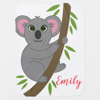Personalized Name Girl Hanging Koala Bear Animal Baby Blanket