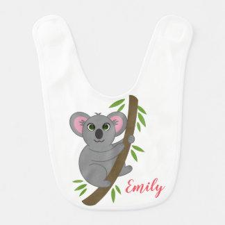 Personalized Name Girl Hanging Koala Bear Animal Bib