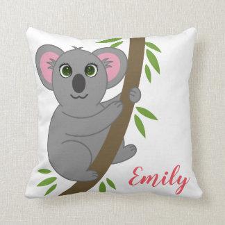 Personalized Name Girl Hanging Koala Bear Animal Throw Pillow