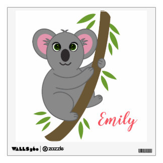 Personalized Name Girl Hanging Koala Bear Animal Wall Sticker