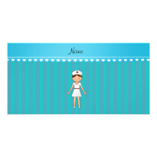 Personalized name girl nurse turquoise stripes personalized photo card