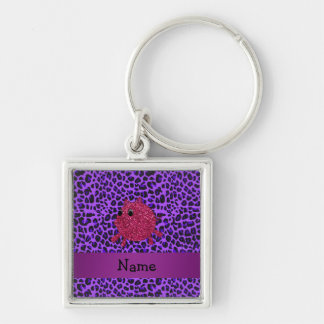 Personalized name glitter pig purple leopard keychains
