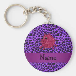 Personalized name glitter pig purple leopard keychain