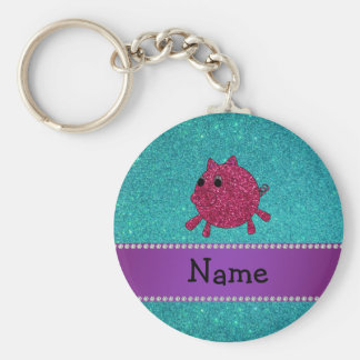 Personalized name glitter pig turquoise glitter key chain
