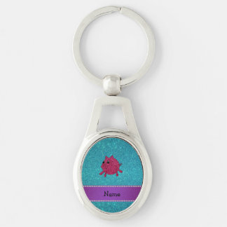 Personalized name glitter pig turquoise glitter key chains