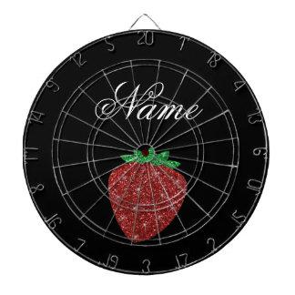 Personalized name glitter strawberry black dartboard
