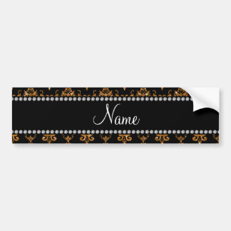 Personalized name gold damask bumper stickers