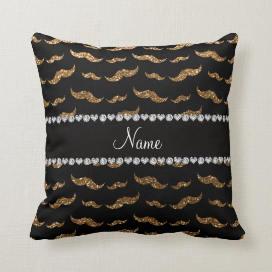 Personalized name gold glitter moustaches throw pillow