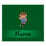 Personalized name golf player green stripes poster