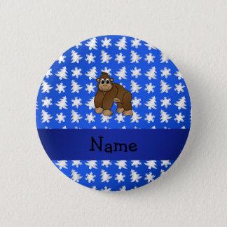 Personalized name gorilla blue snowflakes trees 2 inch round button