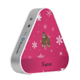 Personalized name gorilla pink snowflakes speaker