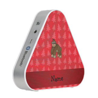 Personalized name gorilla red christmas trees blueooth speaker