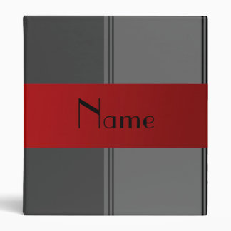 Personalized name gray and red stripes 3 ring binders