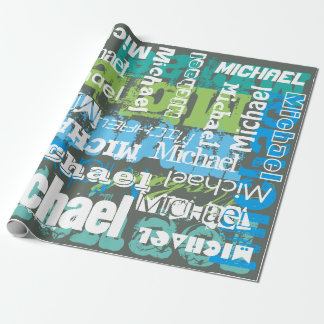 Personalized Name Gray Blue Green Subway Art