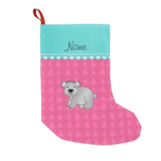 Personalized name gray koala pink Christmas trees Small Christmas Stocking