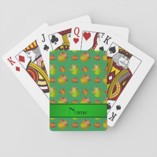 Personalized name green acorns playing cards