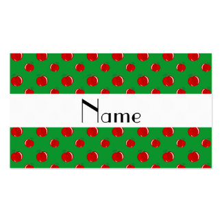 Personalized name green apples business card templates