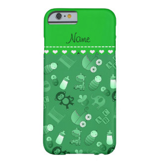 Personalized name green baby animals barely there iPhone 6 case