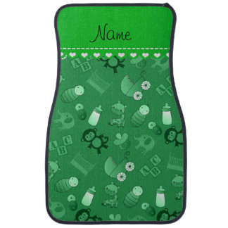 Personalized name green baby animals car carpet