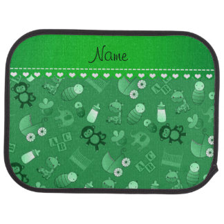 Personalized name green baby animals car floor carpet