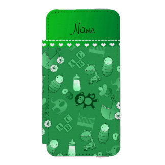 Personalized name green baby animals incipio watson™ iPhone 5 wallet case