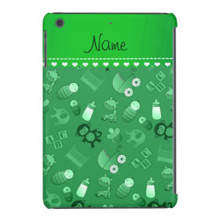Personalized name green baby animals iPad mini cases