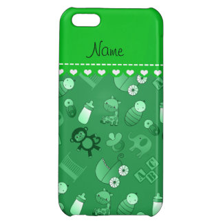 Personalized name green baby animals iPhone 5C case