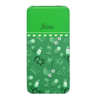 Personalized name green baby animals iPhone pouch