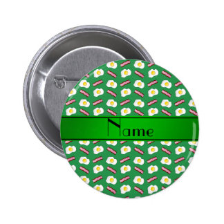 Personalized name green bacon eggs pins