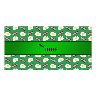 Personalized name green bacon eggs customized photo card