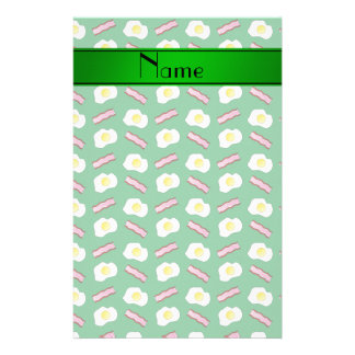 Personalized name green bacon eggs stationery design