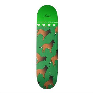 Personalized name green belgian tervuren dogs skateboard deck