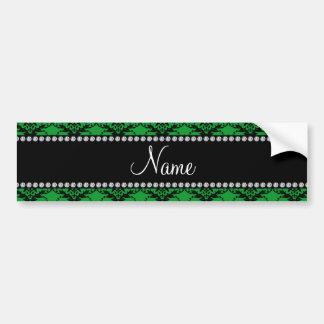 Personalized name Green black damask Bumper Sticker