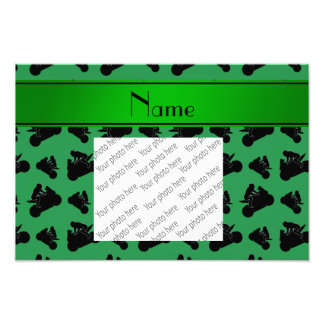 Personalized name green black motorcycle racing art photo