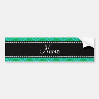 Personalized name Green blue damask Bumper Stickers