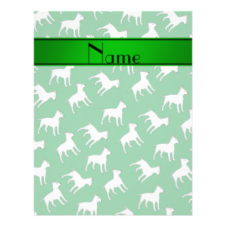 Personalized name green bull terrier dogs custom flyer