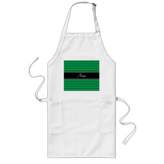 Personalized name green chevrons aprons