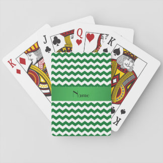 Personalized name green chevrons playing cards