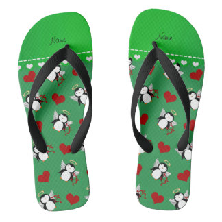 Personalized name green cupid penguins red hearts flip flops
