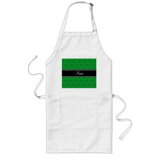 Personalized name Green damask Aprons