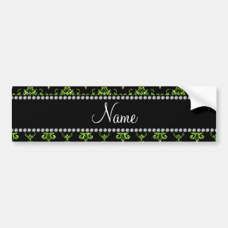 Personalized name green damask bumper stickers