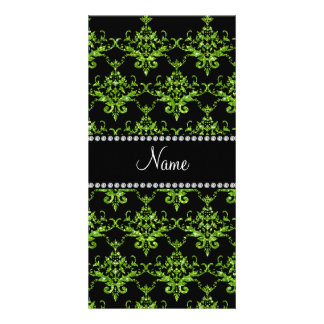 Personalized name green damask photo cards