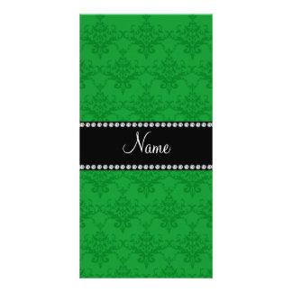Personalized name Green damask Custom Photo Card