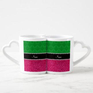 Personalized name green damask pink glitter lovers mug sets