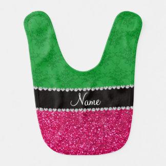 Personalized name green damask pink glitter bibs