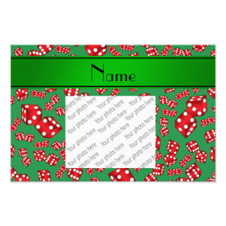 Personalized name green dice pattern photo print