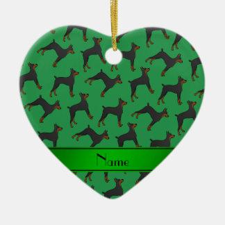 Personalized name green doberman pinschers ceramic heart ornament