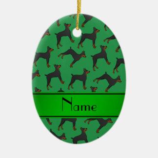 Personalized name green doberman pinschers ceramic oval ornament