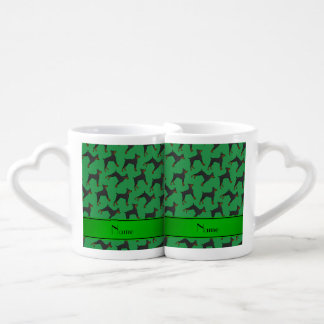 Personalized name green doberman pinschers coffee mug set
